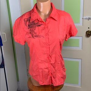 HARLEY DAVIDSON button down blouse short sleeve L